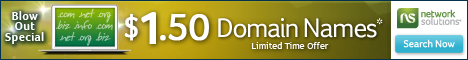 $4.95 Domains for NEW Customers (1-year term) at Network Solutions®!